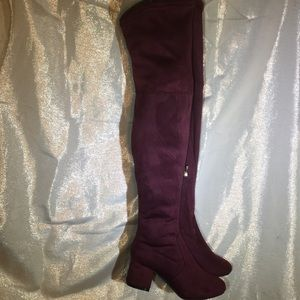 Shoes - New Burgundy Faux Suede Med Heel Thigh High Boots!